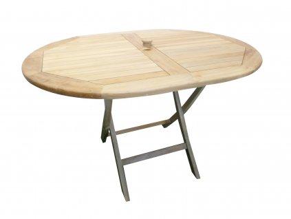 Olaf oválný teakový skládací stůl
