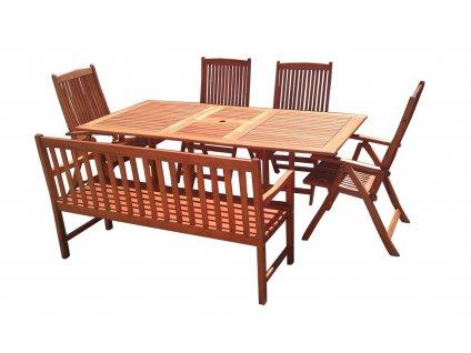 Viet eukalyptový set zahradního nábytku 1+1+4