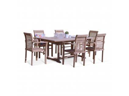 Dřevěný zahradní nábytek Faisal I. teak set 1+6
