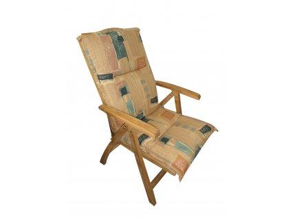 Polstr Béžovo-zelený na polohovací židli