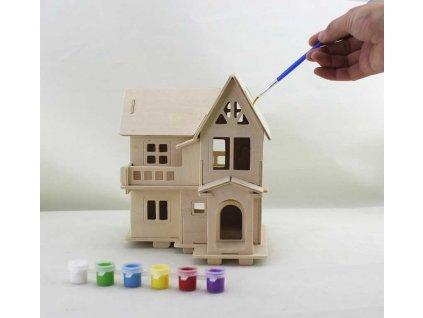 RoboTime Dřevěná skládačka Domeček natur + barvy a štětec