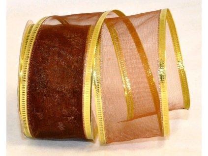 Stuha organza 4 cm, 2,7 m, hnědá, zlatý lem