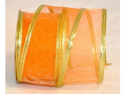 Stuha organza 4 cm, 2,7 m, oranžová, zlatý lem