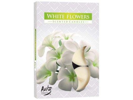 Svíčka čajová vonná 6 ks - bílé květy