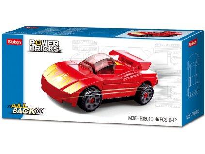Sluban Power Bricks M38-B0801E Natahovací auto Červený sporťák