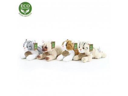 Rappa Plyšová kočka ležící 4 druhy 18 cm ECO-FRIENDLY 1 ks