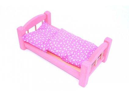 Dřevěná postýlka pro panenky růžová