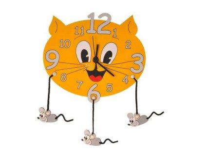 DoDo Dětské dřevěné hodiny kočka s myškami