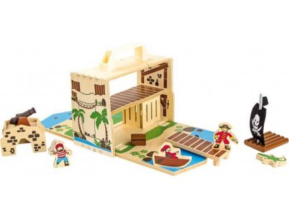 Small Foot Dřevěný Pirátsky ostrov v kufru