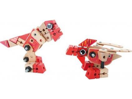 Small Foot Dřevěná stavebnice set dinosaurů 2v1