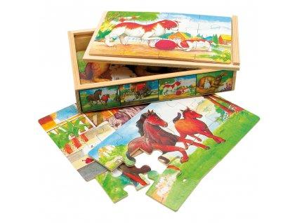 Bino Dřevěné puzzle v krabičce zvířátka