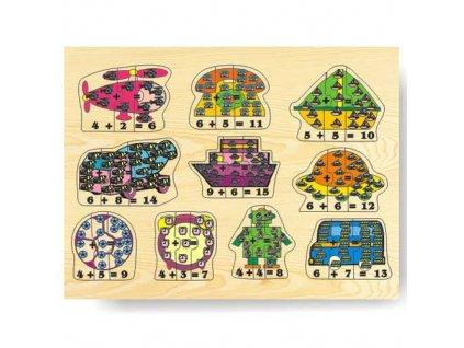 Dřevěné vkládací puzzle matematika počítání do 15