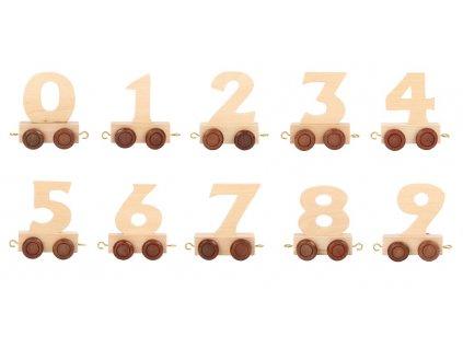 Vláčkodráha - vláček přírodní číslice - 1 ks číslice