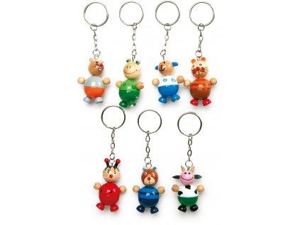 Dřevěné přívěšky na klíče - Zvířátka 1ks  myš Dřevěné přívěšky na klíče - Zvířátka 1ks  myš