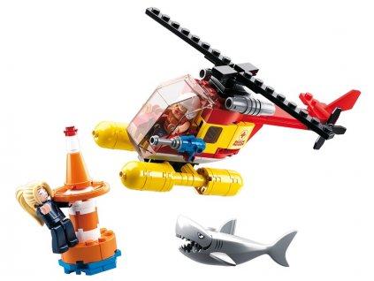 Sluban Town Strážci pláží M38-B0669 Záchranná helikoptéra a žralok