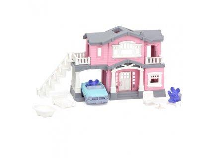 Green Toys Růžový dům s 9 ks příslušenství