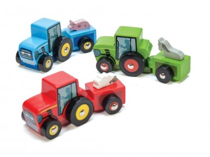 Le Toy Van barevný traktor 1ks červená