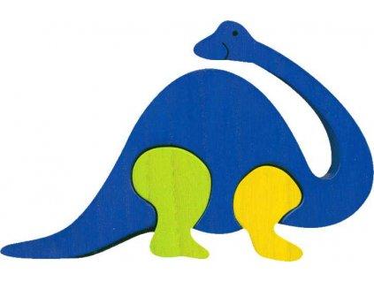 Fauna Dřevěné vkládací puzzle z masivu brontosaurus