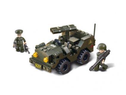 Sluban Army M38-B5800 Jeep s dvouhlavňovým dělem