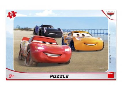 Dino Puzzle Cars 3: Blesk McQueen s konturou 15 dílků