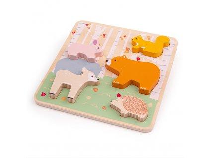 Bigjigs Baby Dřevěné puzzle Woodland