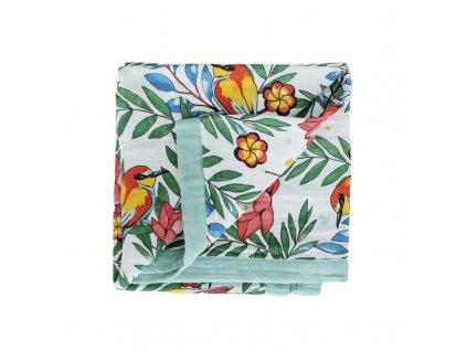 Tommy Lise Bavlněná mušelínová přikrývka Blooming Day 106x106cm