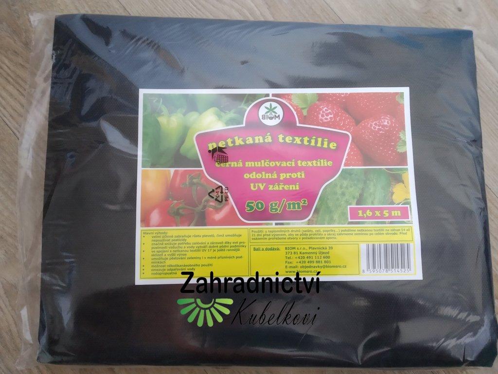 Biom netkaná textilie - černá 50 g 1,6x5 m