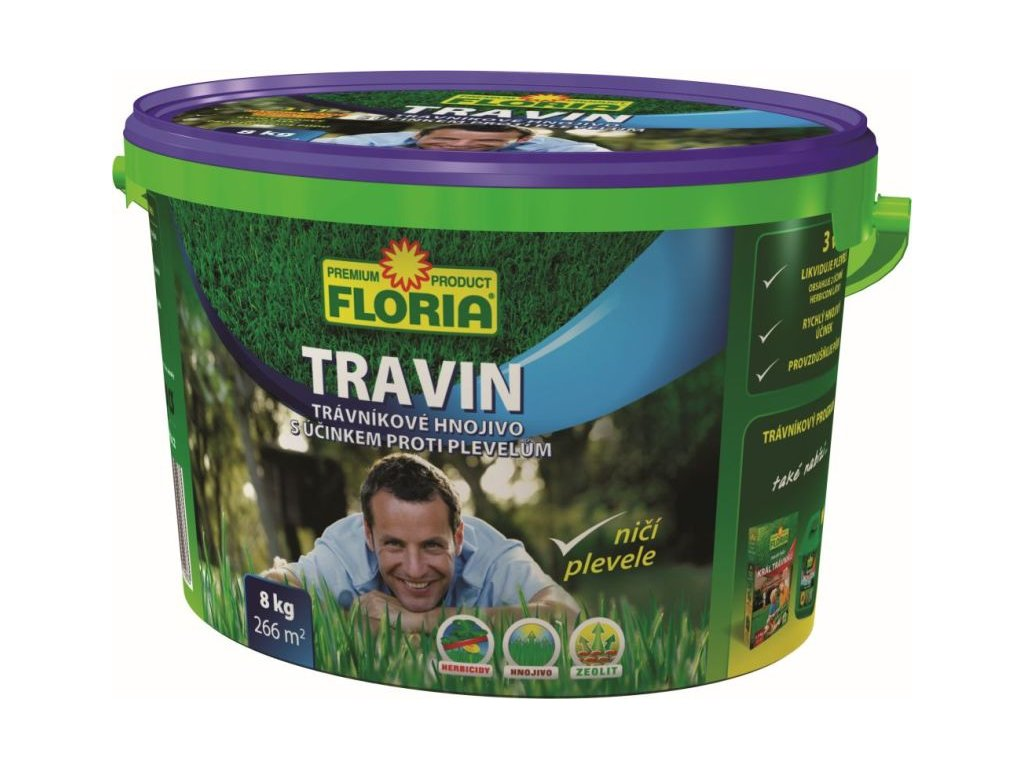 017089 FLORIA Travnikove hnojivo s ucinkem proti plevelum TRAVIN 8 kg 8594028310033