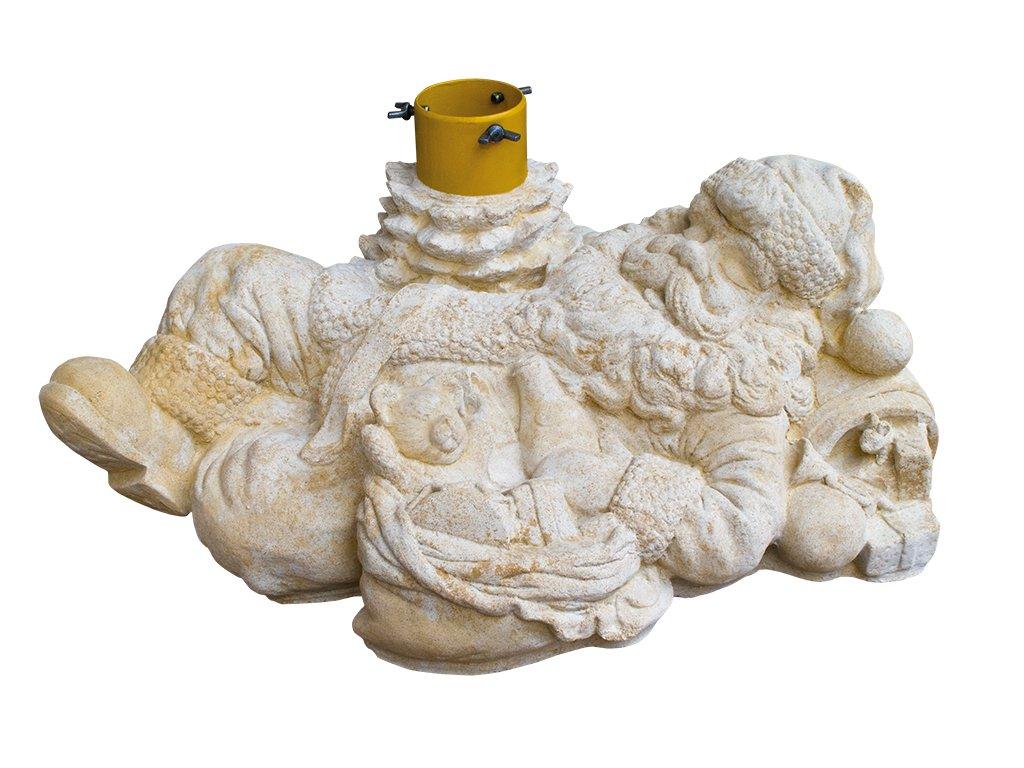 socha, zahradní sochy, Santa Klaus - stojan na stromek 36 kg T