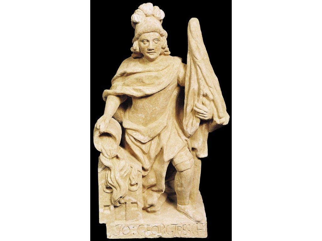 Zahradní dekorace - Zahradní socha, soška Svatý Florian 58kg, kamenná