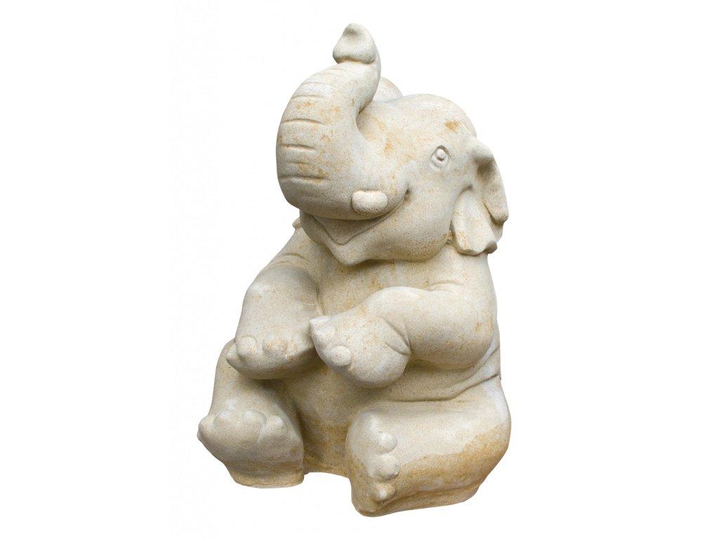 zahradní dekorace zvířat - zahradní sochy zvířat, Slon sedící  70 kg T