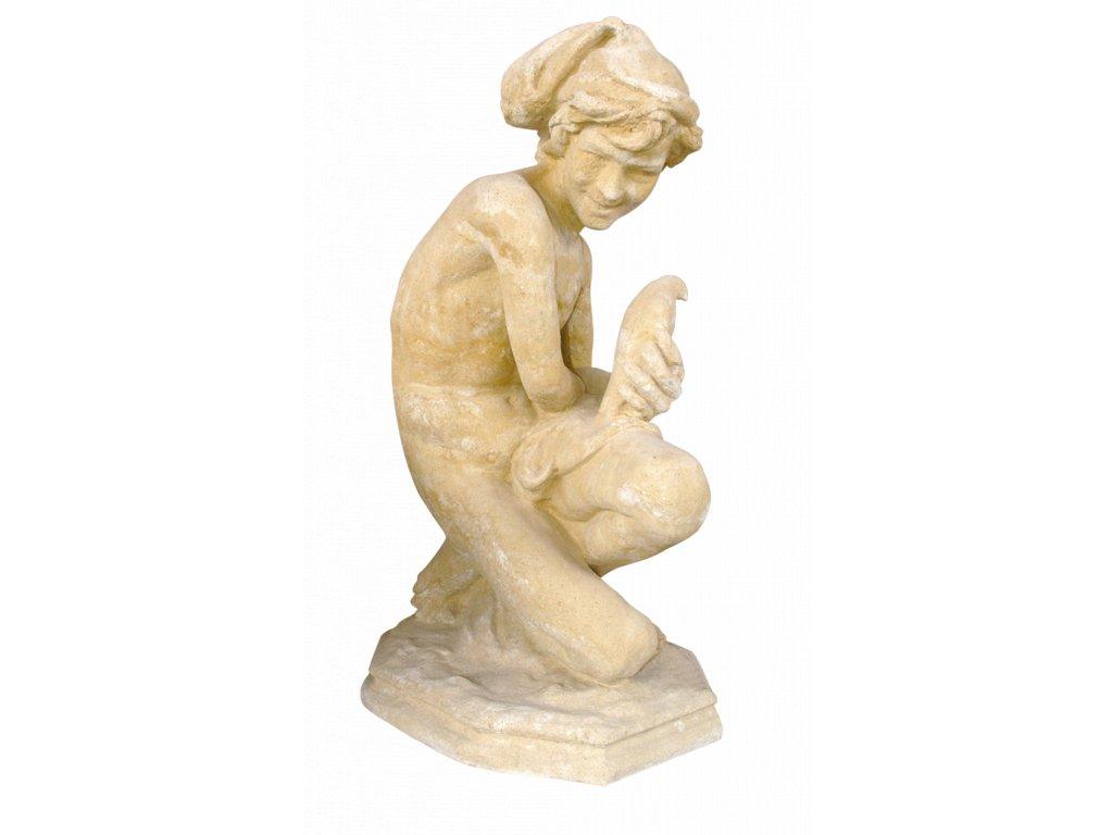 socha, zahradní sochy velké z pískovce, Chlapec s holubicí  87kg  T