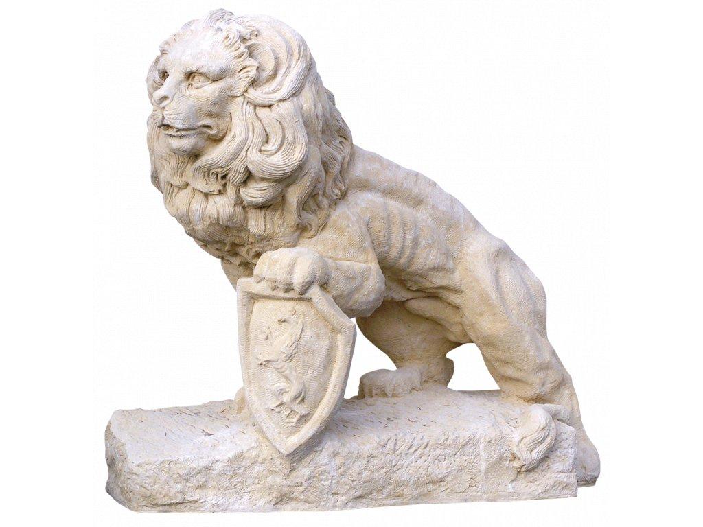 zahradní dekorace zvířat - zahradní sochy zvířat, Lev s erbem stojící 500 kg  T