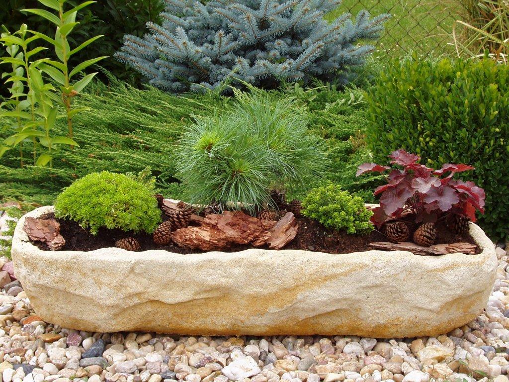 AKCE 3ks zahradní kamenný truhlík TTRP0270 73x27x15cm písková