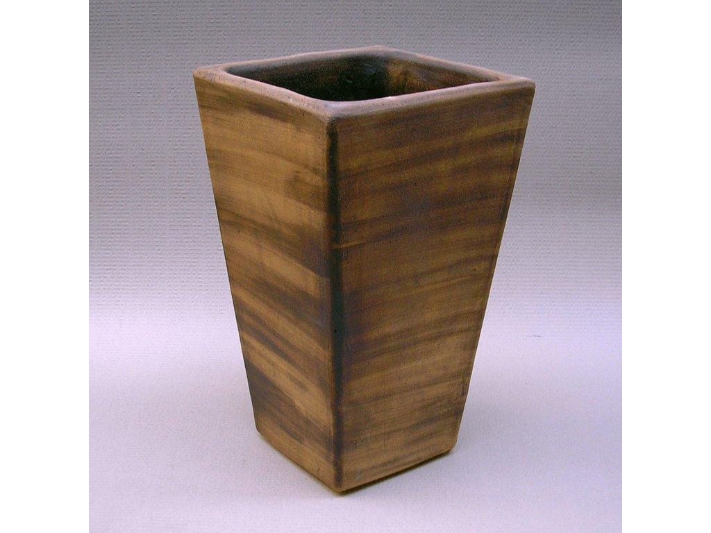 Keramické květináče - Váza vysoká kónická 300x300x500mm hnědá žíhaná (Odstín-glazura 2.cihlově tmavá-terakota-CT)
