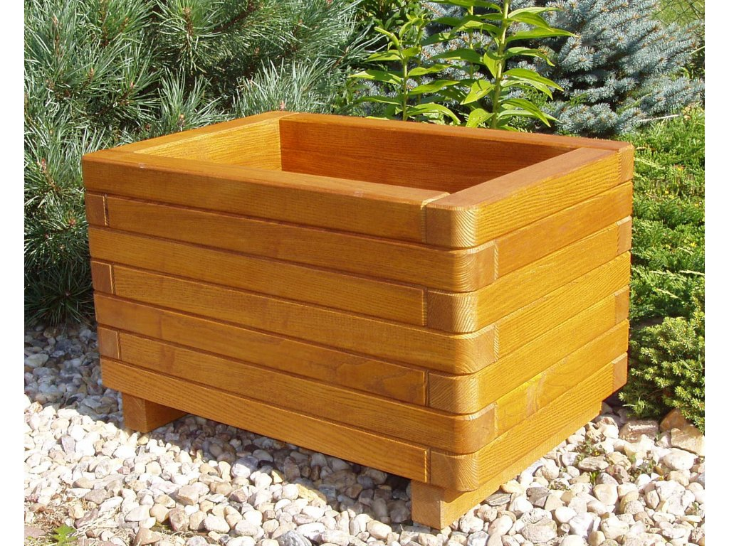 364 zahradnidekorace zahradni kvetinac elegance 40x60 dreveny dubovy