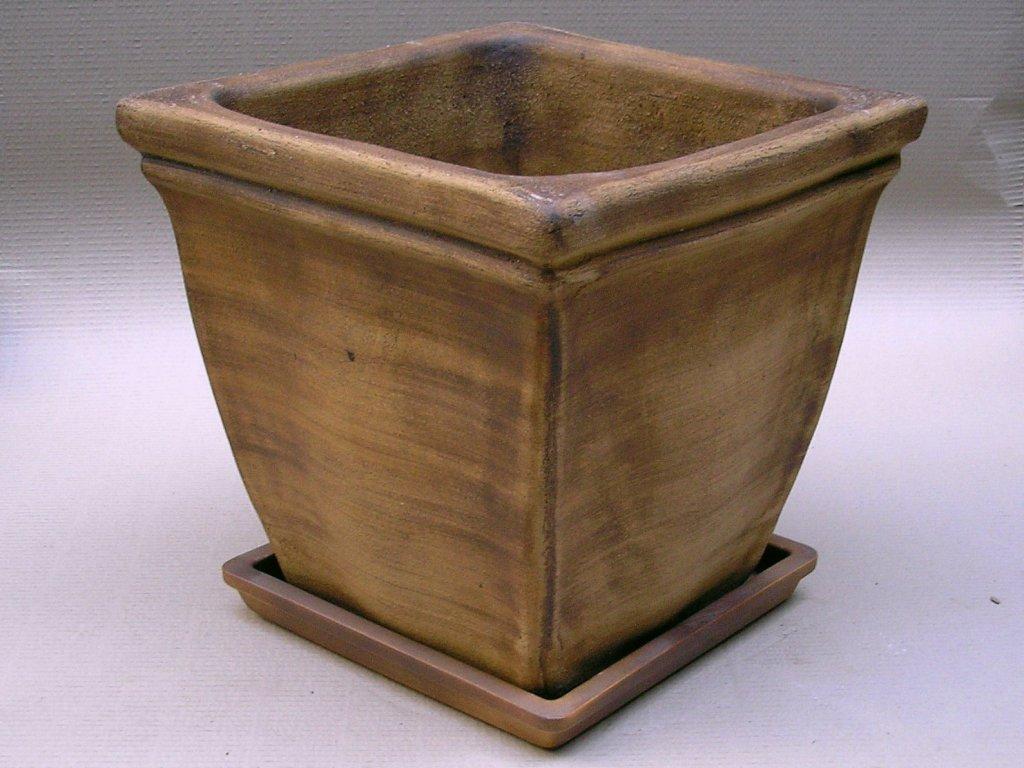 Keramické květináče - váza s lemem kónická bez podmisky 380x380x370 (Odstín-glazura 2.cihlově tmavá-terakota-CT)