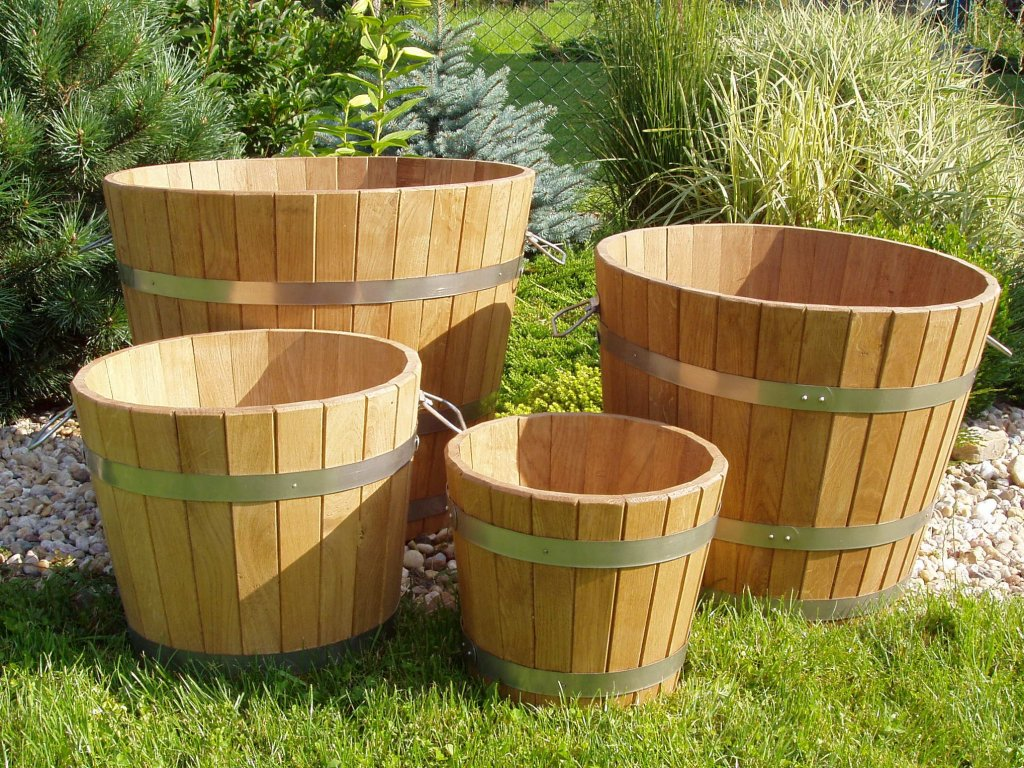 Zahradní květináč vědro pr.350x250 dřevěný dubový