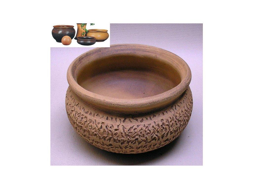 Keramické květináče - keramická váza V 400x145 (Odstín-glazura 2.cihlově tmavá-terakota-CT)