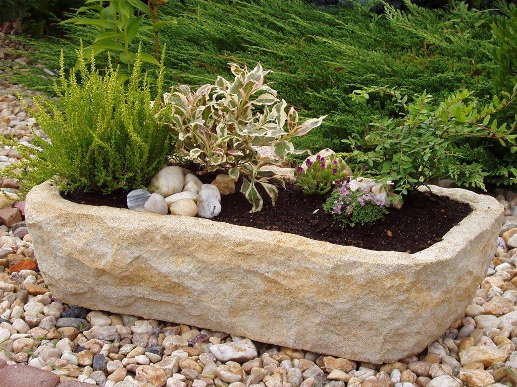 85 zahradni kvetinac kamenne koryto ttrp1058 57x28x15cm okrova