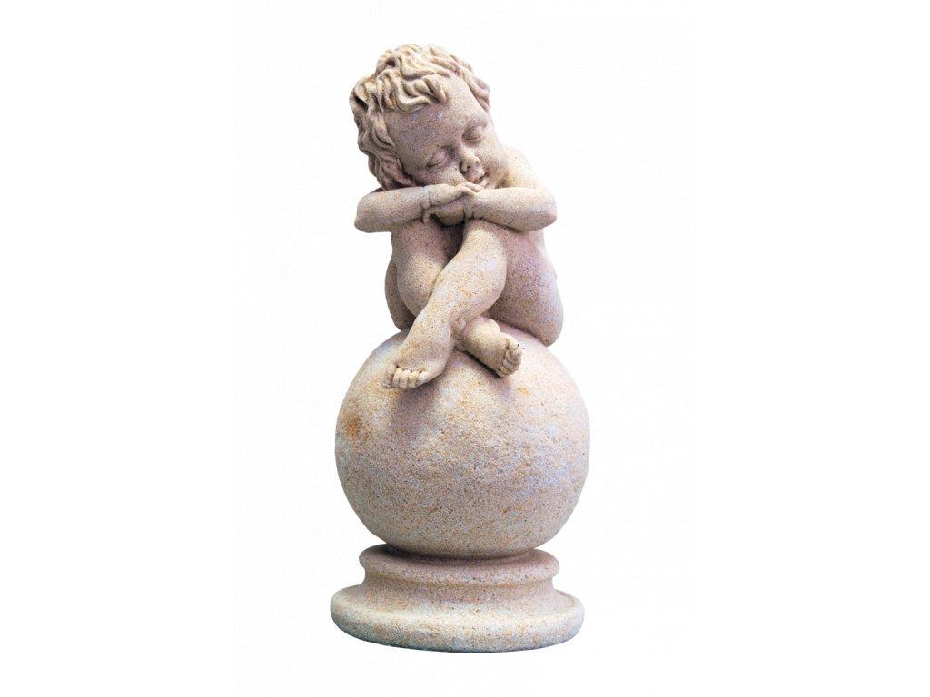 zahradní sochy a dekorace do zahrady, Dítě na kouli 2,2kg  J