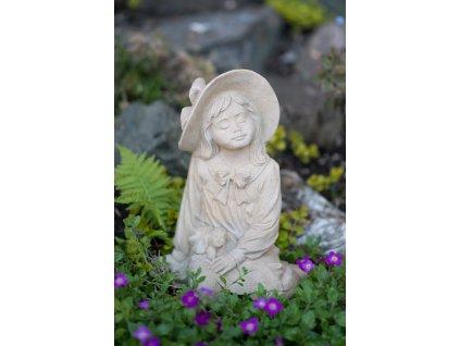 zahradní socha a dekorace, soška děvčátko se štěnětem