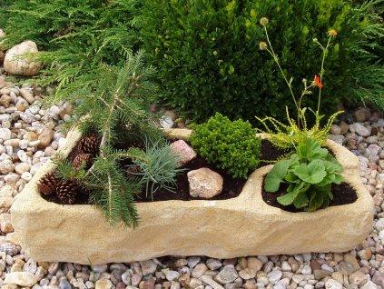 AKCE 2ks zahradní koryta TTRP0465 z umělého pískovce, žlutý odstín