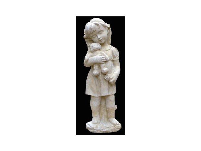 zahradní socha a dekorace, soška dívenka s medvídkem 6kg