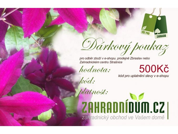 DÁRKOVÝ POUKAZ 500 Kč - zahradnidum