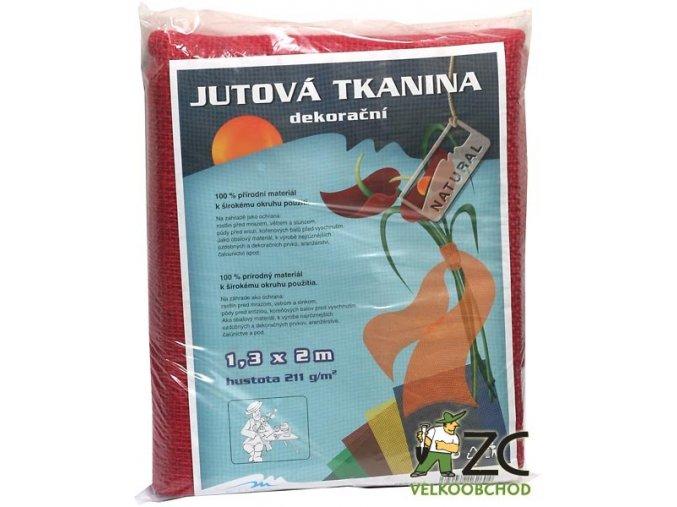 Jutová tkanina 1,3x1m - červená