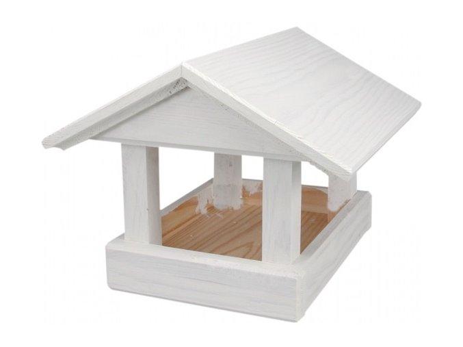 Krmítko č.17 dřevěné bílé 24x30x20cm