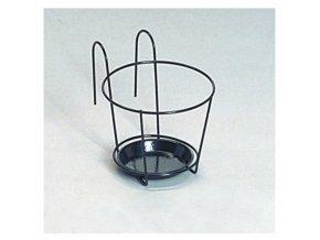 Držák květníků SONIA kovový černý + podmiska d22cm
