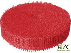 Jutová stuha 4cm x 25m - červená