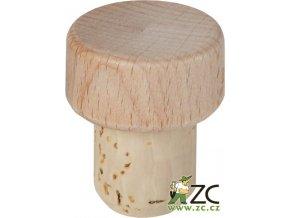 Zátka T dřevěná přírodní průměr 18,5mm (top 30mm)